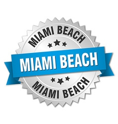 Miami beach round silver badge with blue ribbon vector