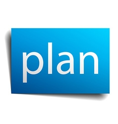 Plan blue paper sign on white background vector