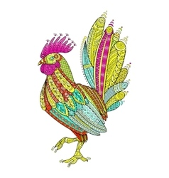 Rooster domestic farmer bird for coloring pages vector