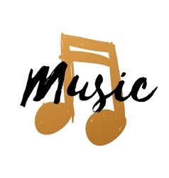 Hand-drawn gold music note on white background for vector image