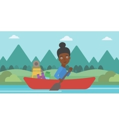 Woman riding in kayak vector