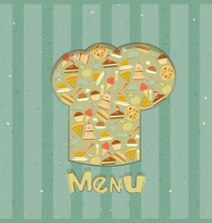 Menu card designs with chefs hat vector