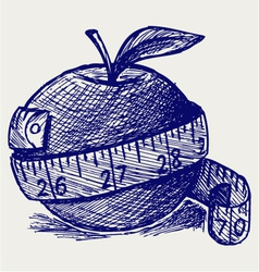 Apple and measure tape vector image vector image