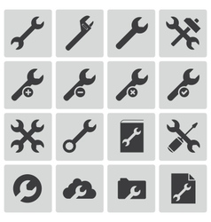 black settings wrench icons set vector image vector image