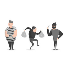 cartoon crime bandit thief characters icon set vector image vector image