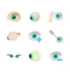 eyes icon set cartoon style vector image
