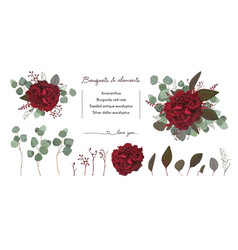 Floral bouquet design with garden red burgundy vector