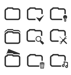 Folder Silhouette Icons Set Isolated on White vector image