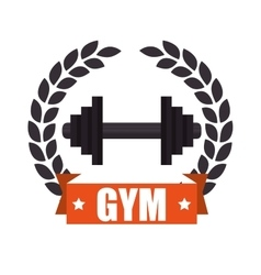 Gym sport emblem dumbbell vector