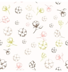 Hand drawn cotton flowers seamless pattern vector