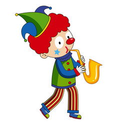 Happy clown playing saxophone vector