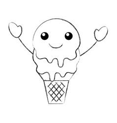 kawaii sweet ice cream cold flavor fresh tasty vector image