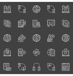 Money transfer line icons vector