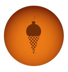 Orange emblem ice cream icon vector