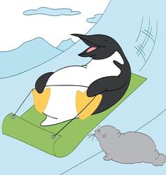 Penguin Sledding vector image