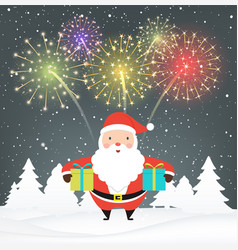 santa claus with gifts on snowy background vector image vector image