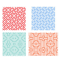 Seamless retro geometric puzzle pattern in asian vector