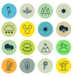 Set of 16 harmony icons includes cold climate vector
