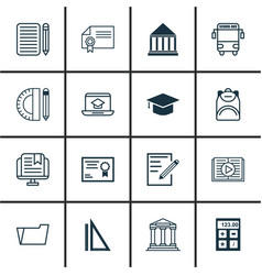 Set of 16 school icons includes distance learning vector