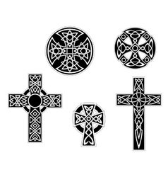 Set of vintage celtic crosses vector image