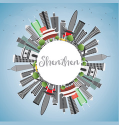 shenzhen skyline with gray buildings blue sky and vector image