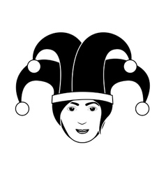 Silhouette of head harlequin man vector