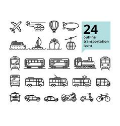 transport and travel set of 24 light outline icons vector image
