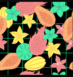 tropical fruit seamless pattern on black vector image vector image