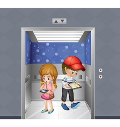 Two kids holding gadgets inside the elevator vector image vector image