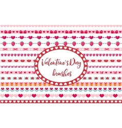 Valentines day borders set cute heart flowers vector