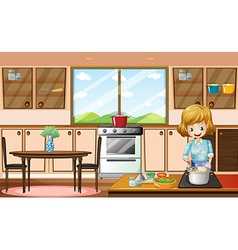 Woman and kitchen vector