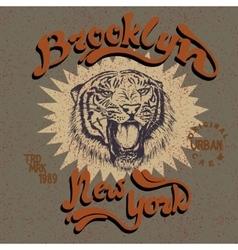 vintage label with tiger vector image