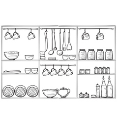 Kitchen sketchy banner shelves with dishes vector