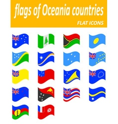 Flags of oceania countries flat icons vector
