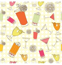 Cocktails Seamless pattern vector image