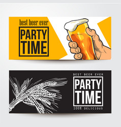 Banners with hand holding glass of beer barley vector