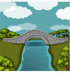 Stone bridge over the river vector