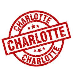 Charlotte red round grunge stamp vector