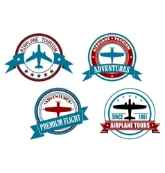 Airplane tours and adventures badges vector image