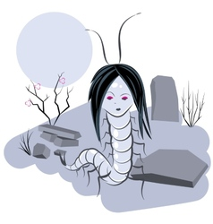 Scolopendra witch in cemetery vector