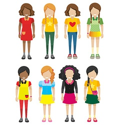 A group of faceless but smiling kids vector