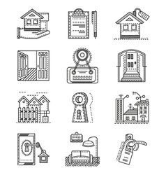 Rent real estate line icons vector