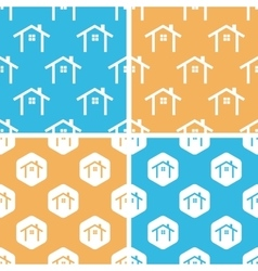 Cottage pattern set colored vector