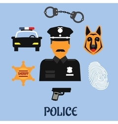 Police profession flat icons and symbols vector