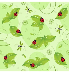 Seamless pattern with leaves insects vector