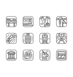 Set of black simple line railway icons vector