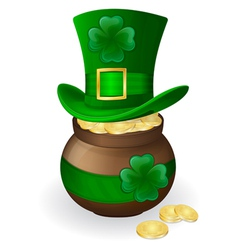 For st patricks day green hat with shamrock and po vector