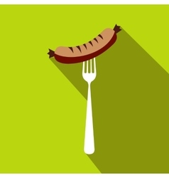 Sausage on a fork flat icon flat style vector