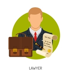 Lawyer icon with briefcase vector