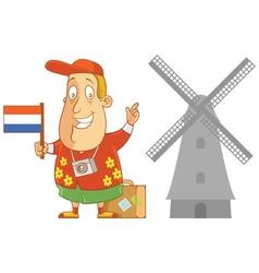 Tourist travel holand vector